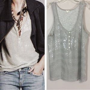 J.Crew Women's Sequin Stripe Henley Tank Small